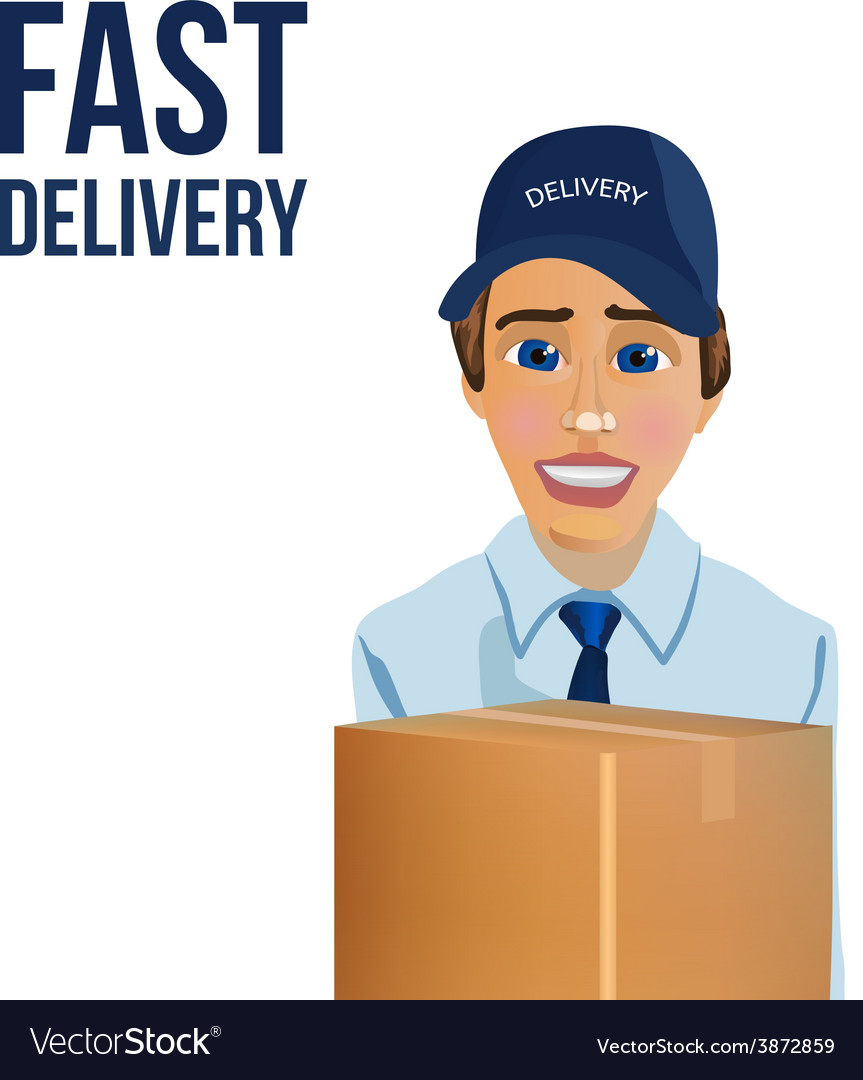 Fast delivery messenger with box vector | Price: 1 Credit (USD $1)