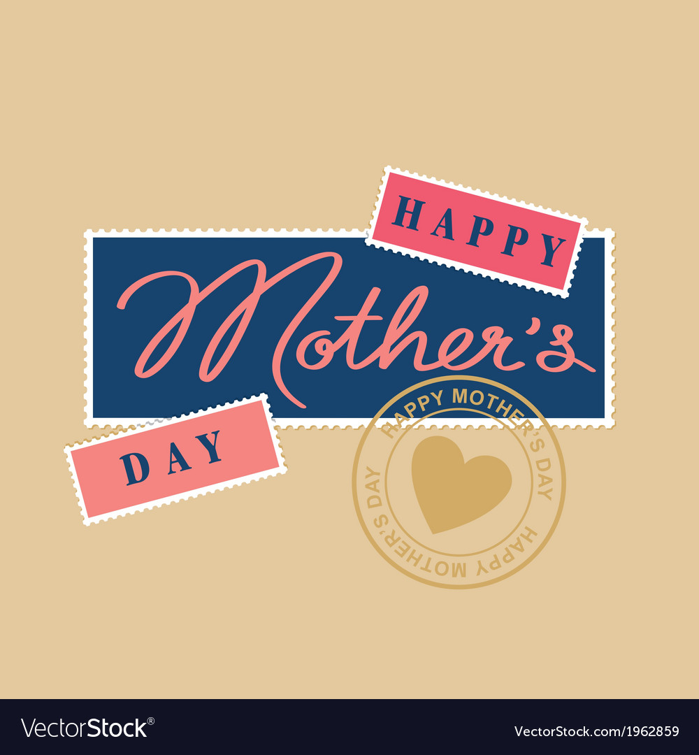 Mothers day hand lettering postage stamp vector | Price: 1 Credit (USD $1)