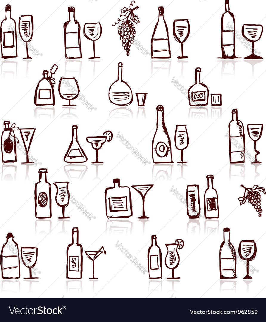 Set of alcohols bottles and wineglasses vector | Price: 1 Credit (USD $1)