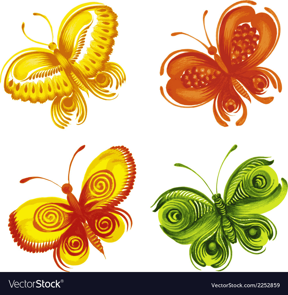 Set of decorative ornament butterflies vector | Price: 1 Credit (USD $1)