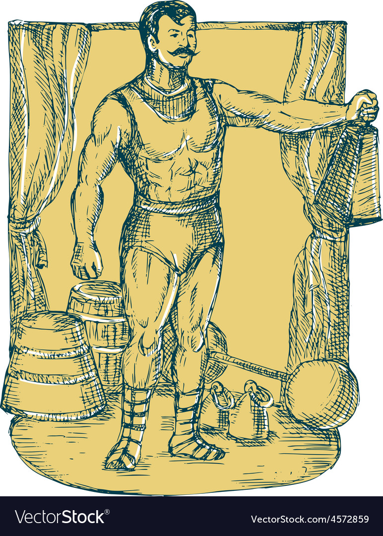 Strongman lifting weight drawing vector | Price: 1 Credit (USD $1)