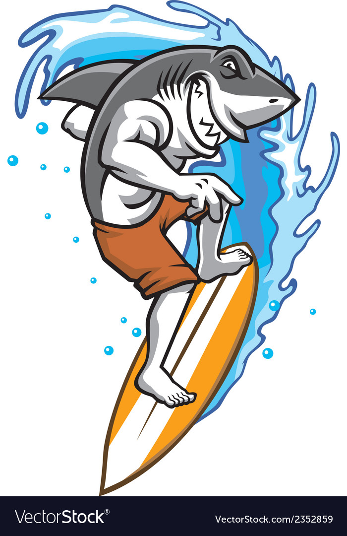 Surfing shark vector | Price: 3 Credit (USD $3)