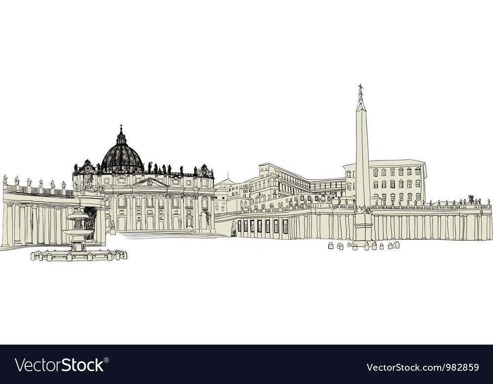 Vatican sketch vector | Price: 1 Credit (USD $1)
