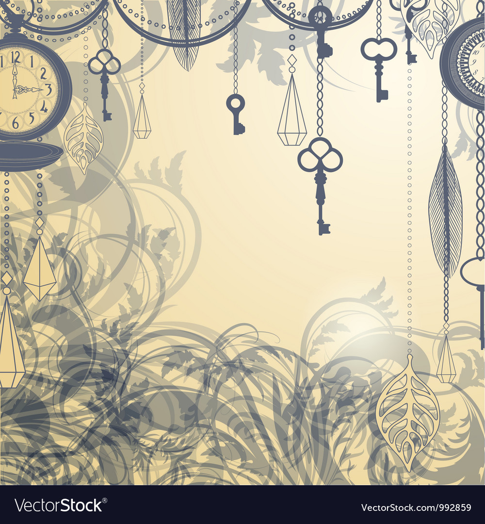 Vintage background with antique clocks and keys vector | Price: 1 Credit (USD $1)