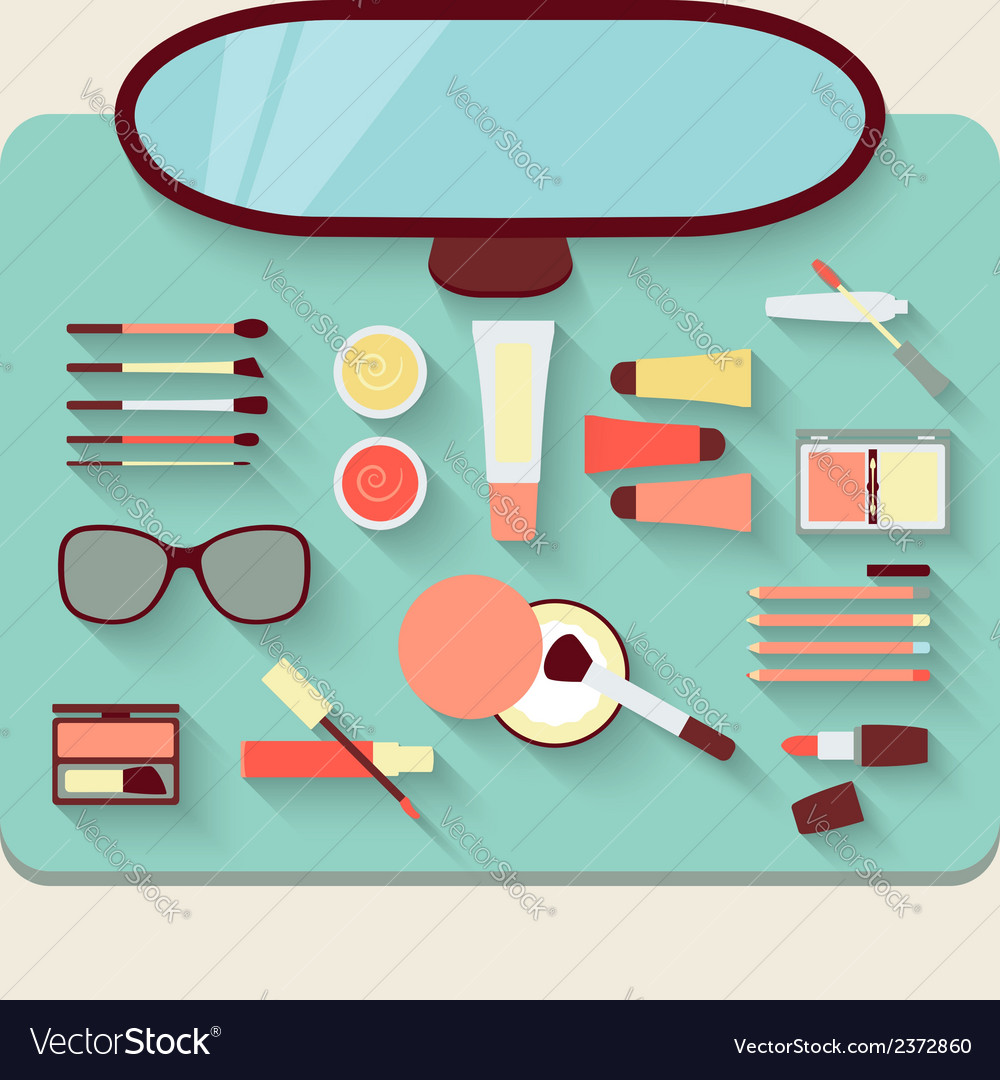 Dressing table with cosmetics top view vector | Price: 1 Credit (USD $1)