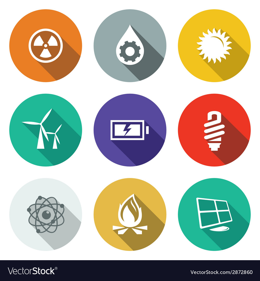 Energy flat icons set vector | Price: 1 Credit (USD $1)