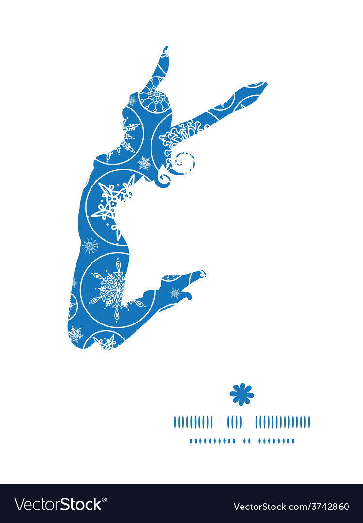Falling snowflakes jumping girl silhouette vector   Price: 1 Credit (USD $1)
