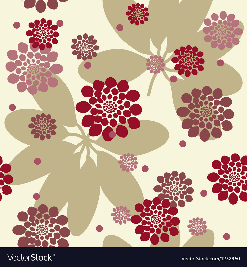 Flowers and leafs seamless background vector | Price: 1 Credit (USD $1)