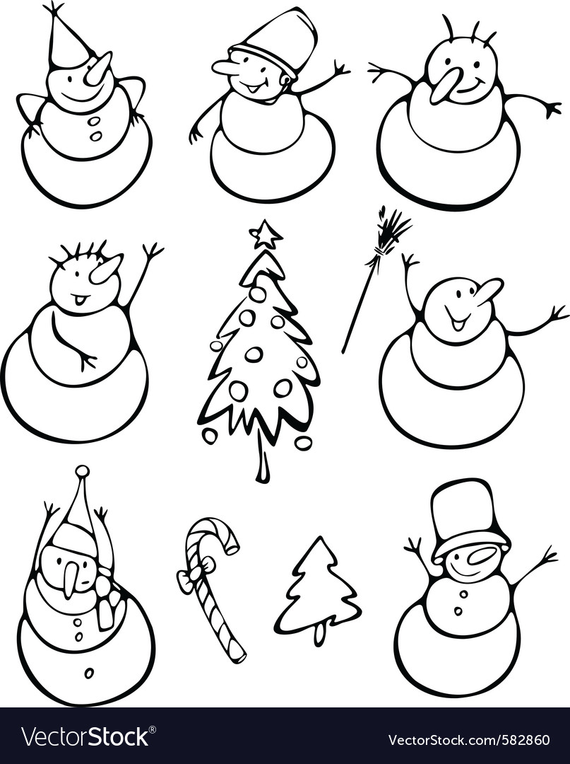 Fun snowmen vector | Price: 1 Credit (USD $1)