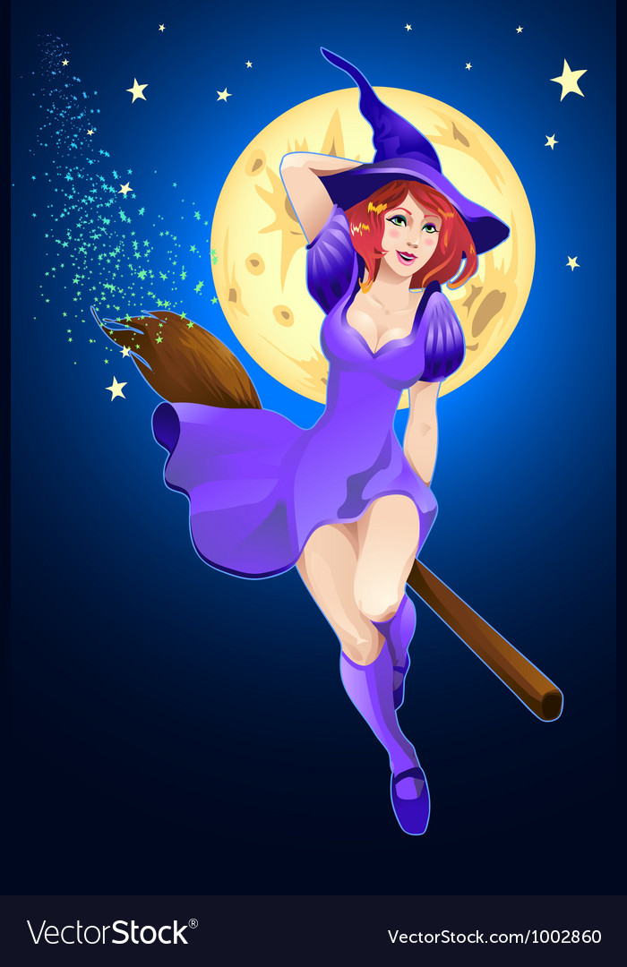 Halloween witch flying on a broom vector | Price: 3 Credit (USD $3)