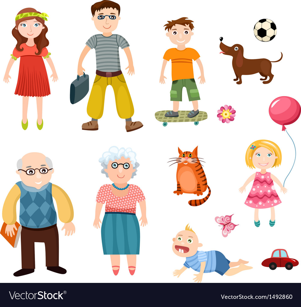 Happy family set vector | Price: 3 Credit (USD $3)