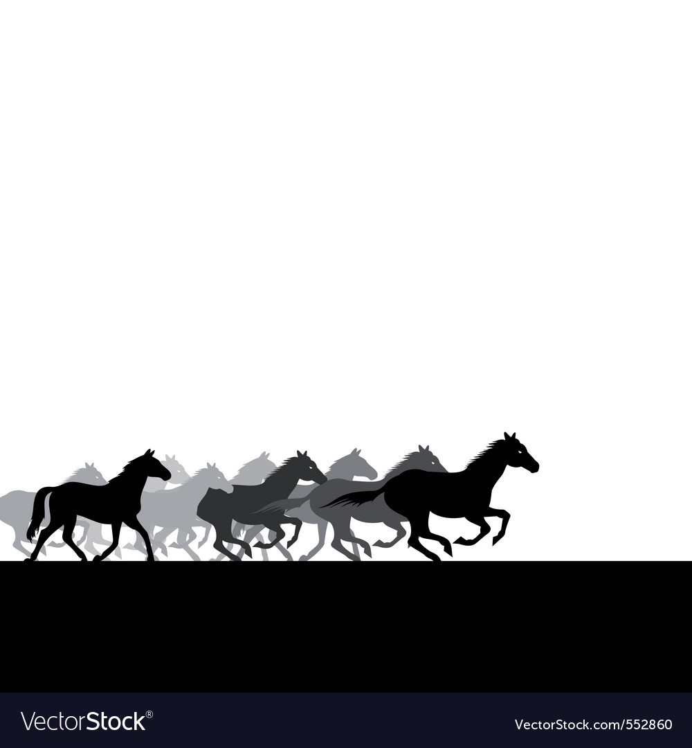 herd of horses across the field a vector il vector | Price: 1 Credit (USD $1)