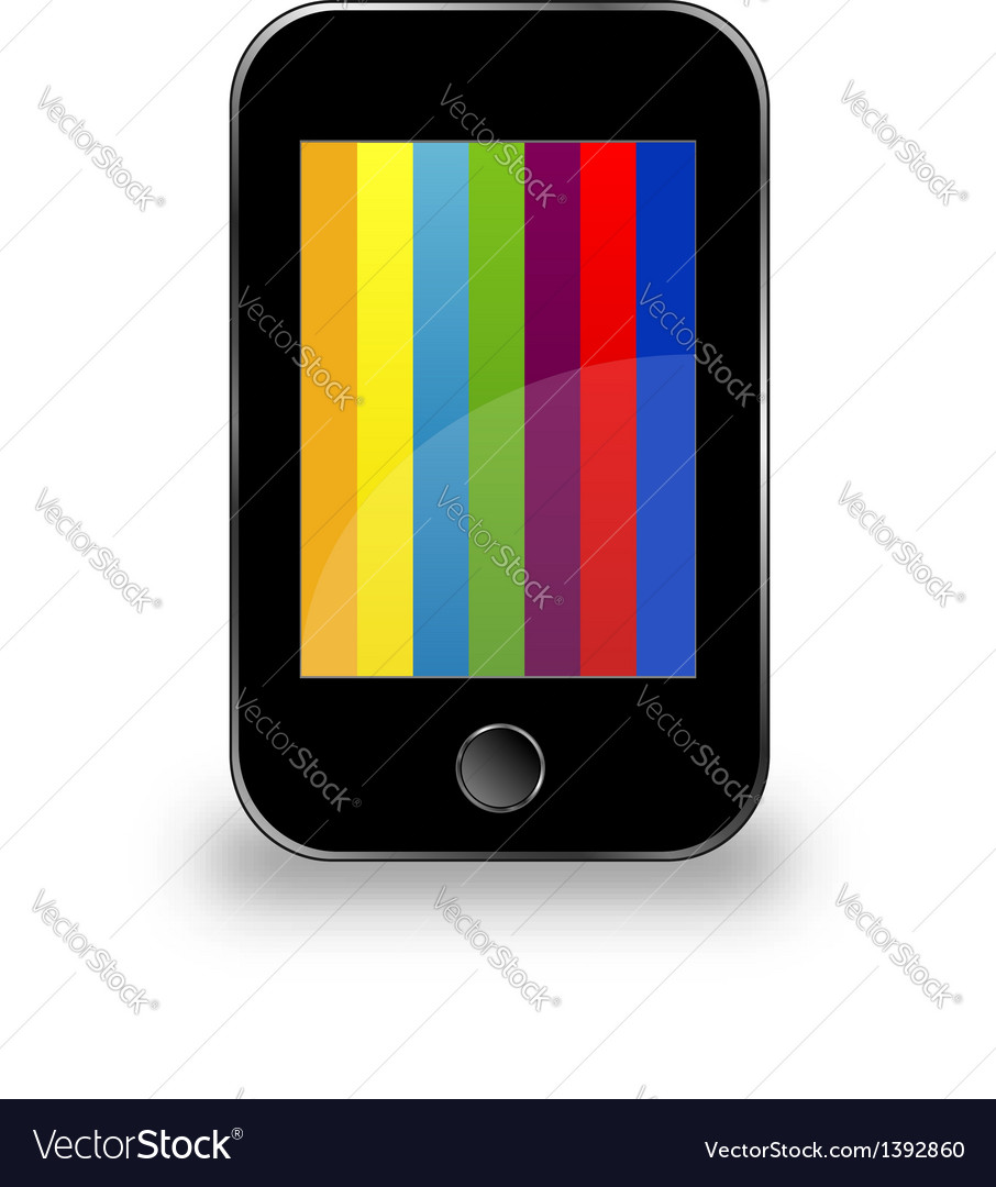Mobile phone with colorful screen vector | Price: 1 Credit (USD $1)