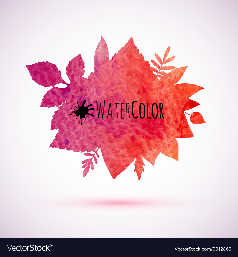 Red watercolor painted autumn leaves banner vector | Price: 1 Credit (USD $1)