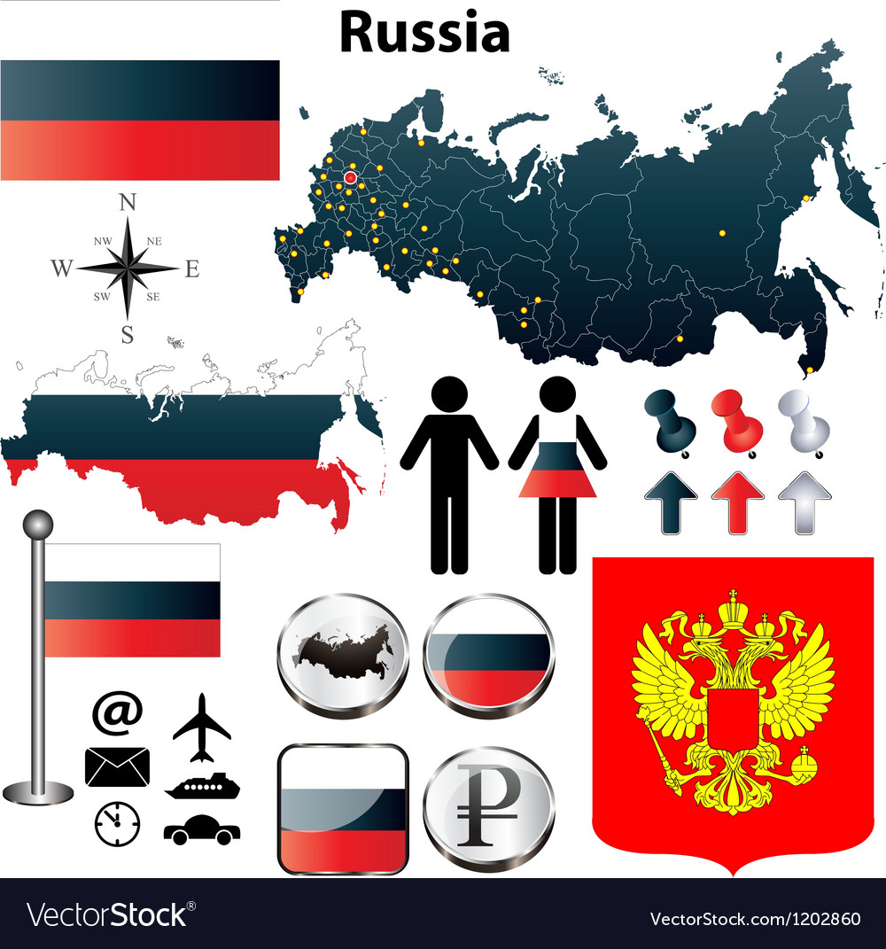 Russia map vector | Price: 1 Credit (USD $1)