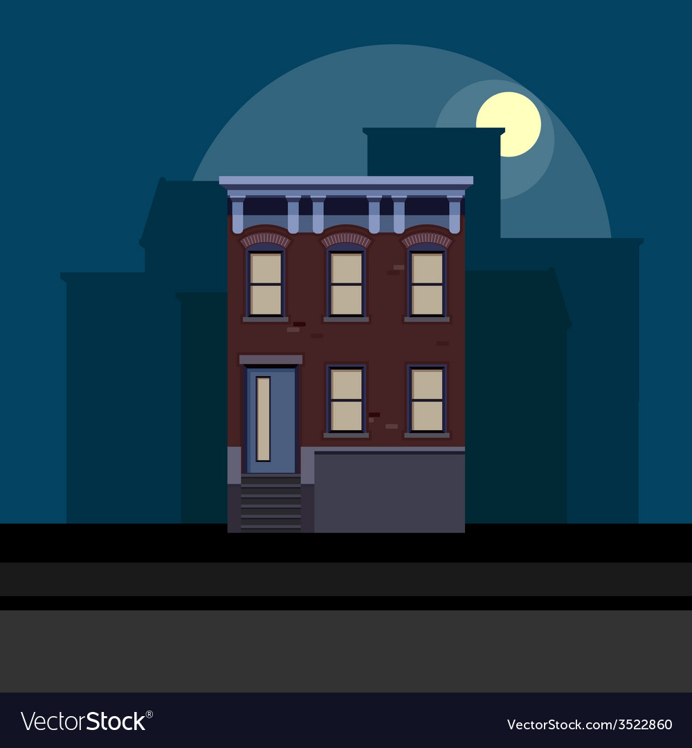 Townhouse in flat polygonal style night cityscape vector | Price: 1 Credit (USD $1)
