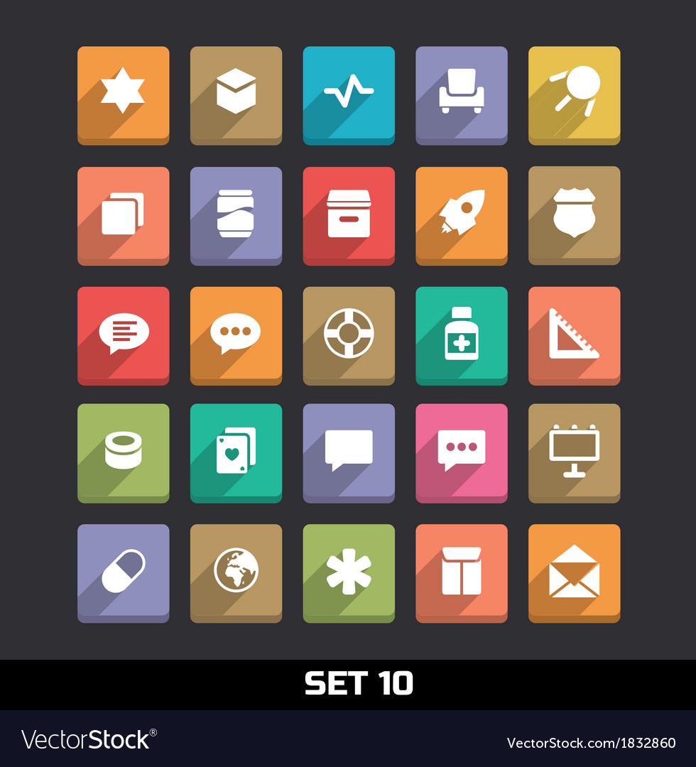 Trendy icons with long shadow set 10 vector   Price: 1 Credit (USD $1)