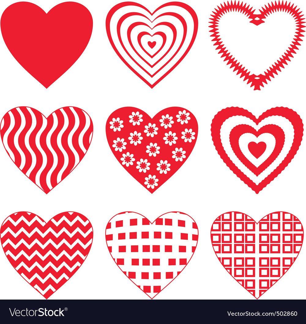 Valentine heart set vector | Price: 1 Credit (USD $1)