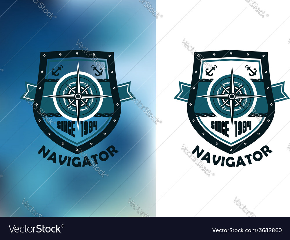 Vintage marine navigator label or emblem vector | Price: 1 Credit (USD $1)