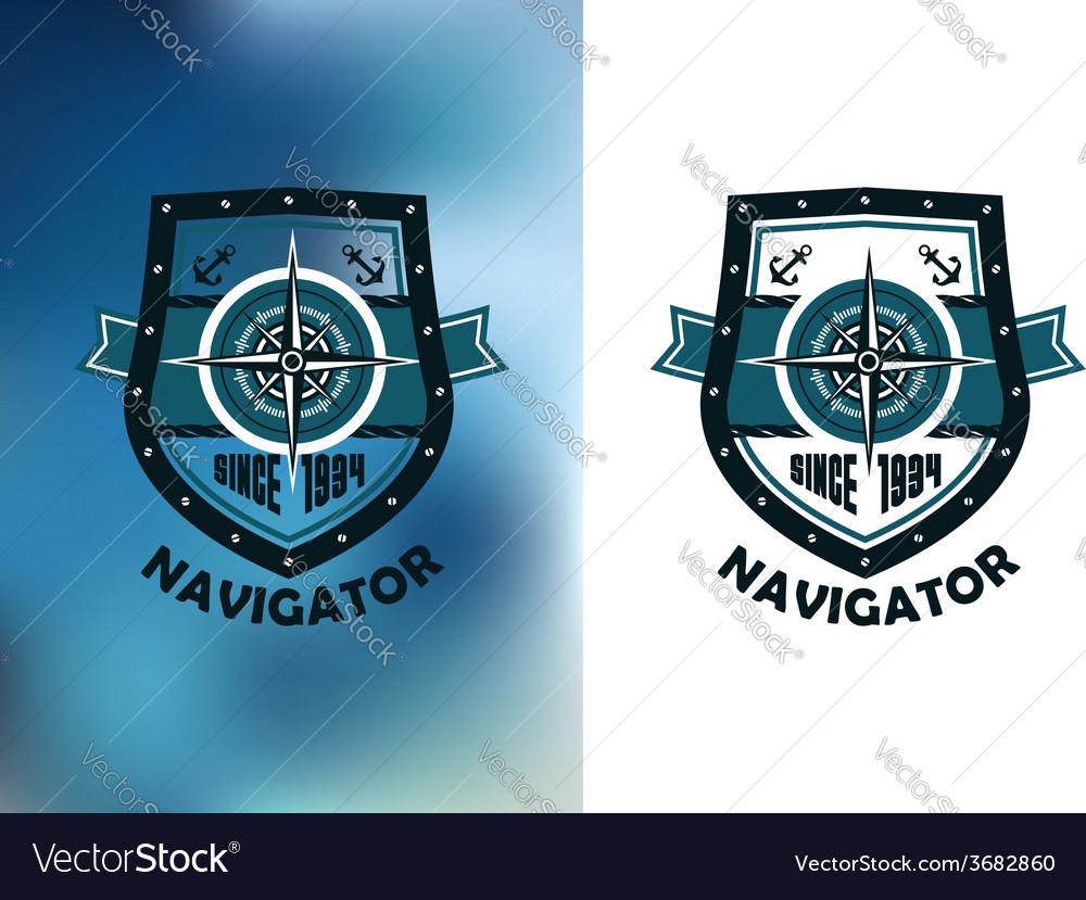 Vintage marine navigator label or emblem vector | Price: 1 Credit (USD $1)