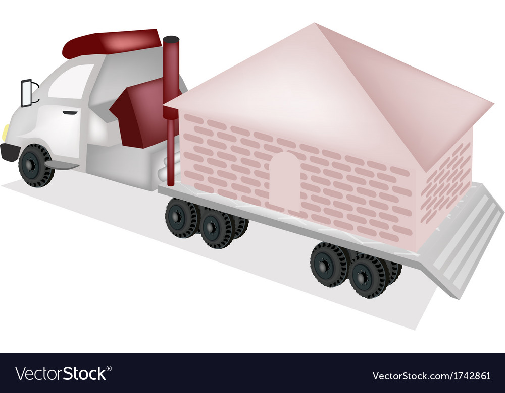 A small house being towed by a truck vector | Price: 1 Credit (USD $1)