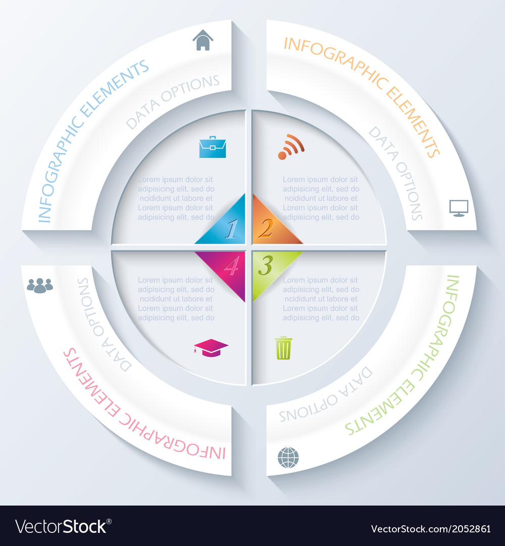 Abstract infographic design with circle and four s vector | Price: 1 Credit (USD $1)