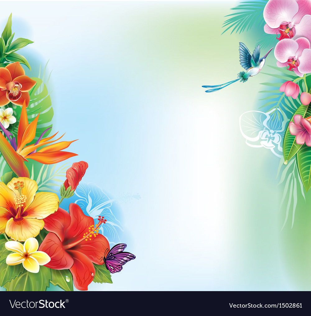 Background from tropical flowers and leaves vector | Price: 1 Credit (USD $1)