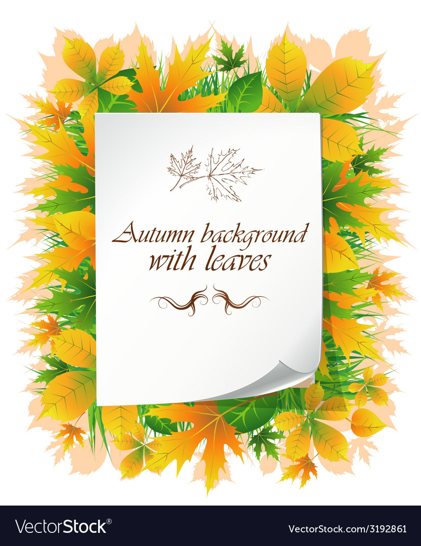 Background with autumn leaves and place for text vector | Price: 1 Credit (USD $1)