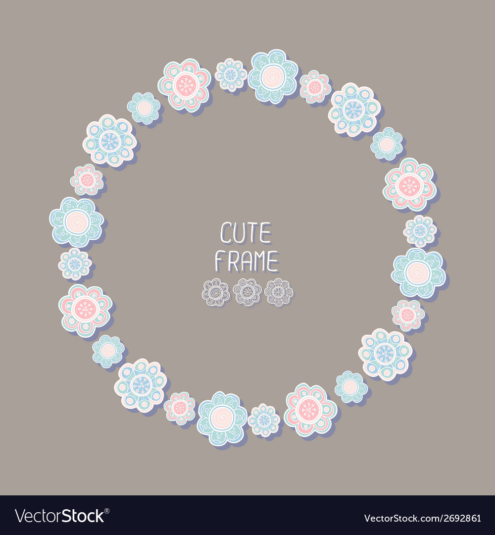 Beautiful floral frame  background cute wreath vector | Price: 1 Credit (USD $1)
