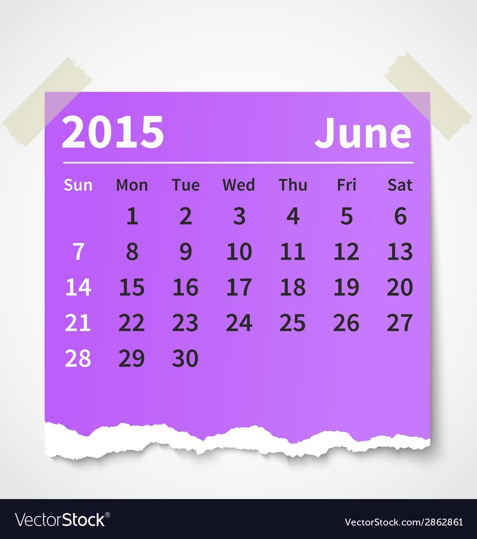 Calendar june 2015 colorful torn paper vector | Price: 1 Credit (USD $1)