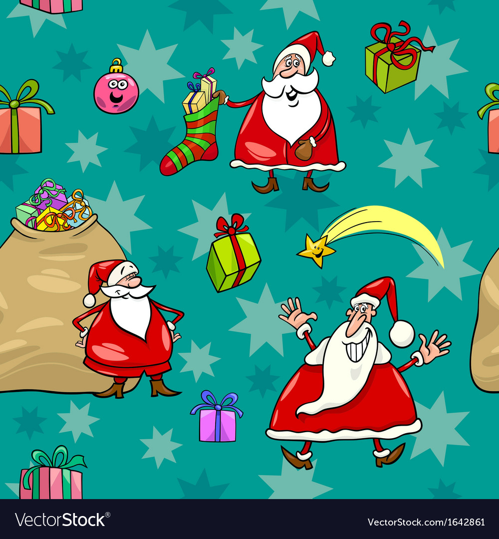Christmas cartoon seamless pattern wrapper vector | Price: 1 Credit (USD $1)