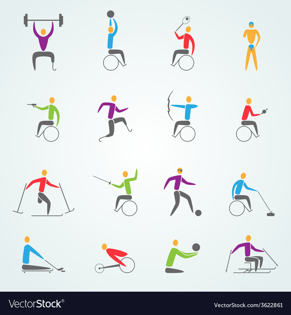 Disabled sports icons set vector | Price: 1 Credit (USD $1)