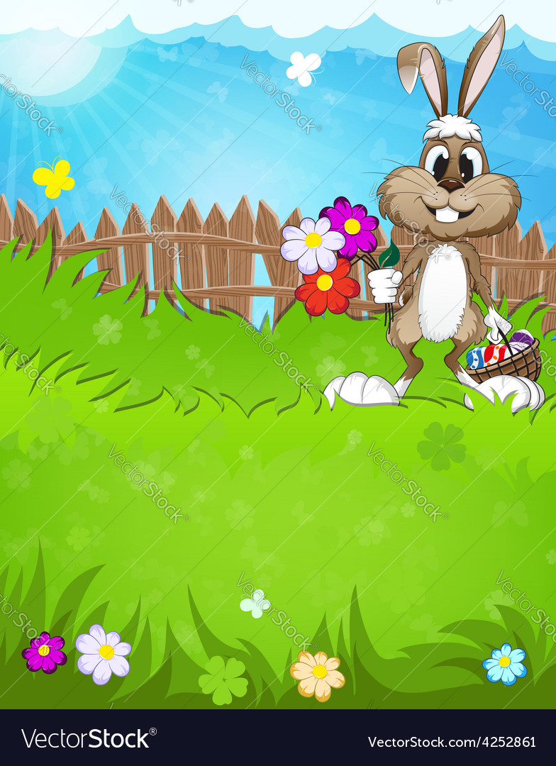 Easter bunny in the meadow vector | Price: 3 Credit (USD $3)