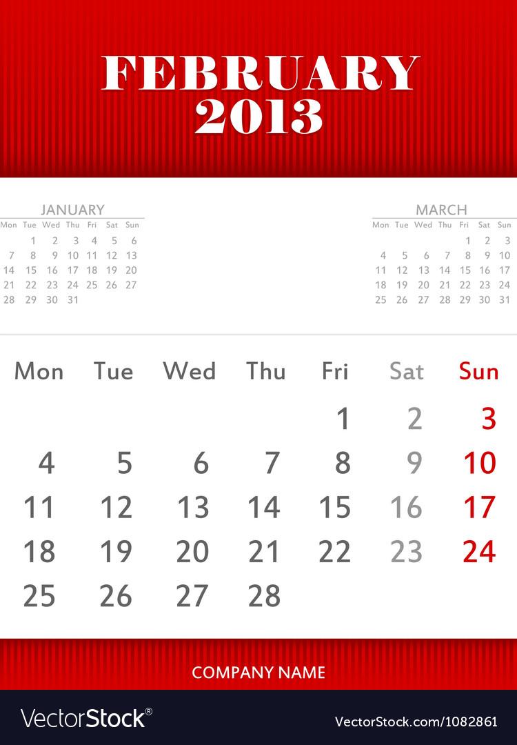 February 2013 calendar design vector | Price: 1 Credit (USD $1)