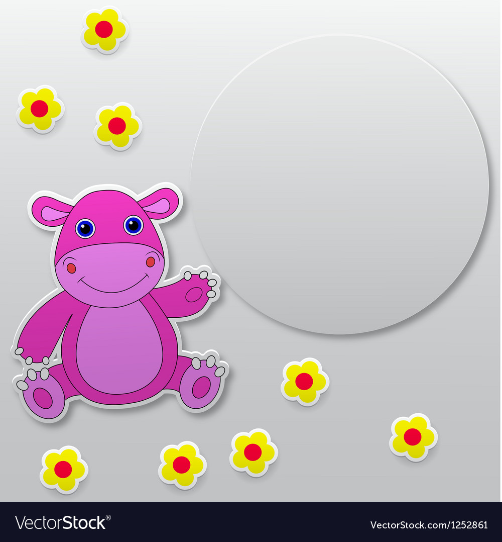 Greeting card with hippo cartoon vector   Price: 1 Credit (USD $1)
