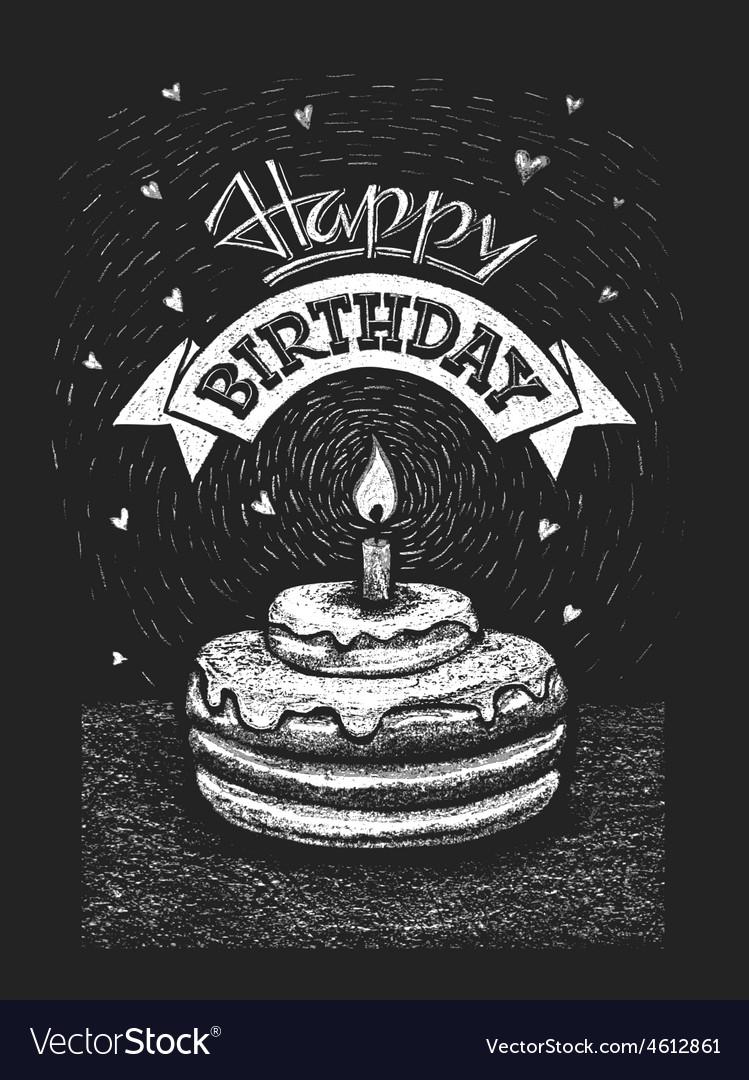 Happy birthday on chalkboard vector | Price: 1 Credit (USD $1)