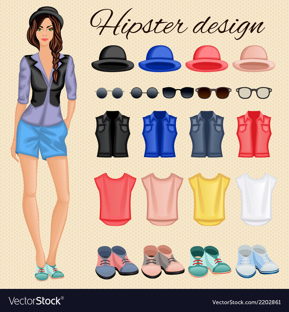 Hipster girl elements vector | Price: 1 Credit (USD $1)