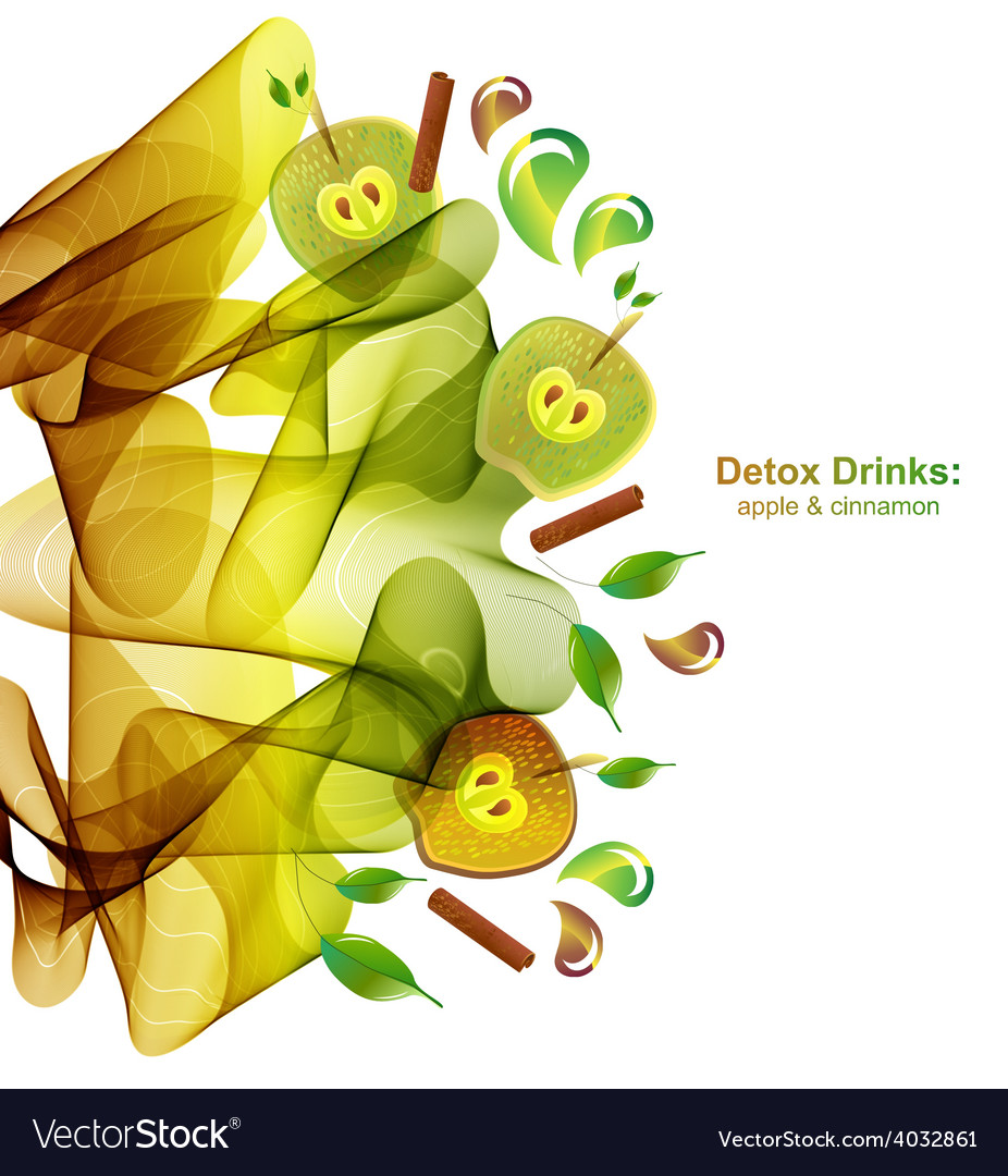 Juice splash with abstract wave apple and cinnamon vector   Price: 1 Credit (USD $1)