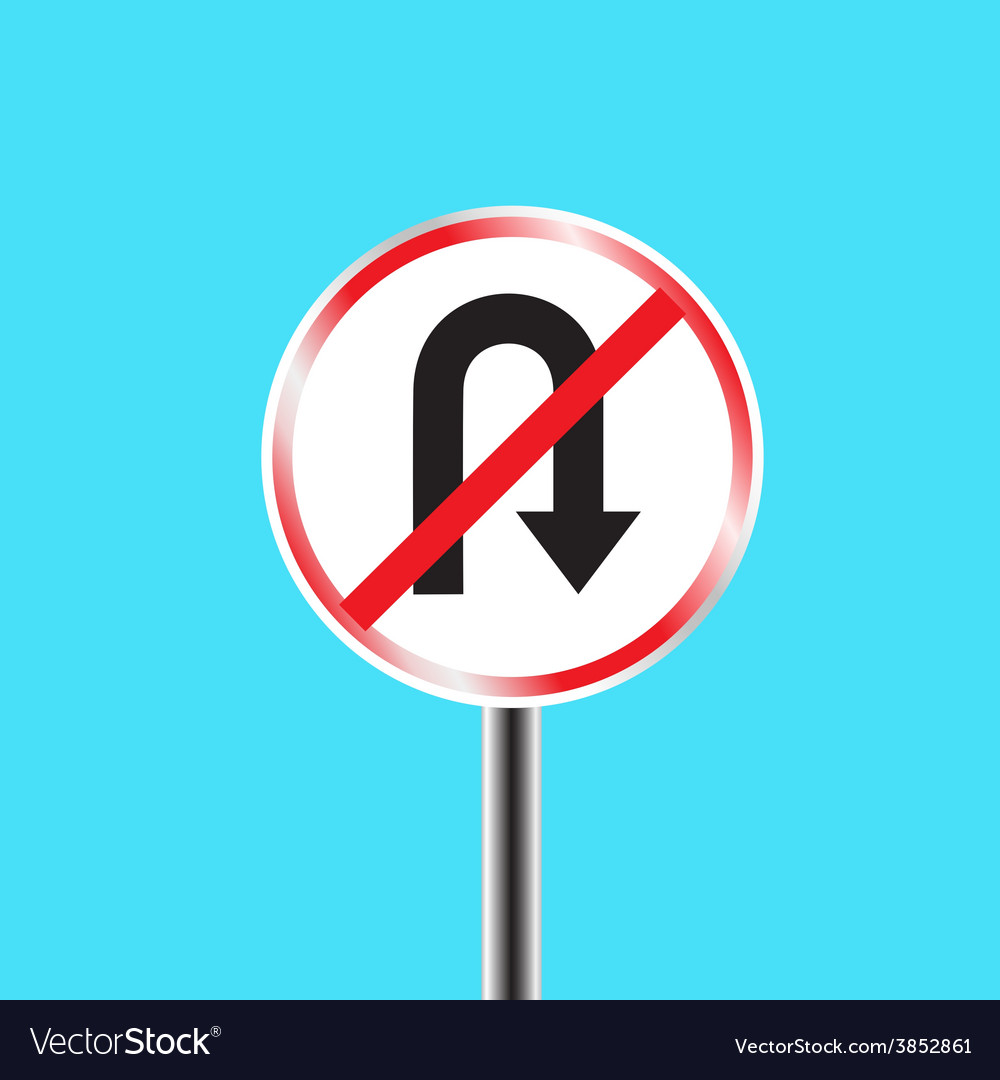 Prohibitory traffic sign u turn prohibited vector | Price: 1 Credit (USD $1)