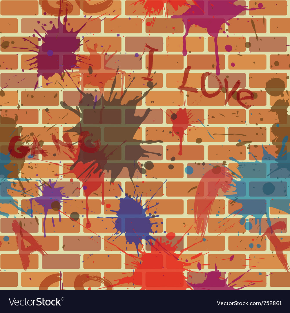 Seamless dirty brick wall graffiti paint vector | Price: 1 Credit (USD $1)