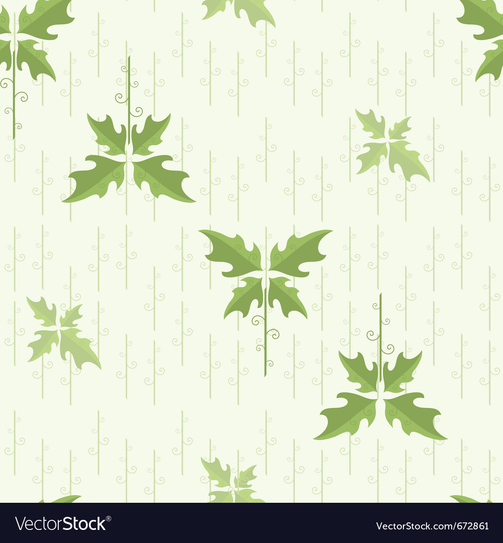 Seamless floral pattern wallpaper with green leave vector | Price: 1 Credit (USD $1)
