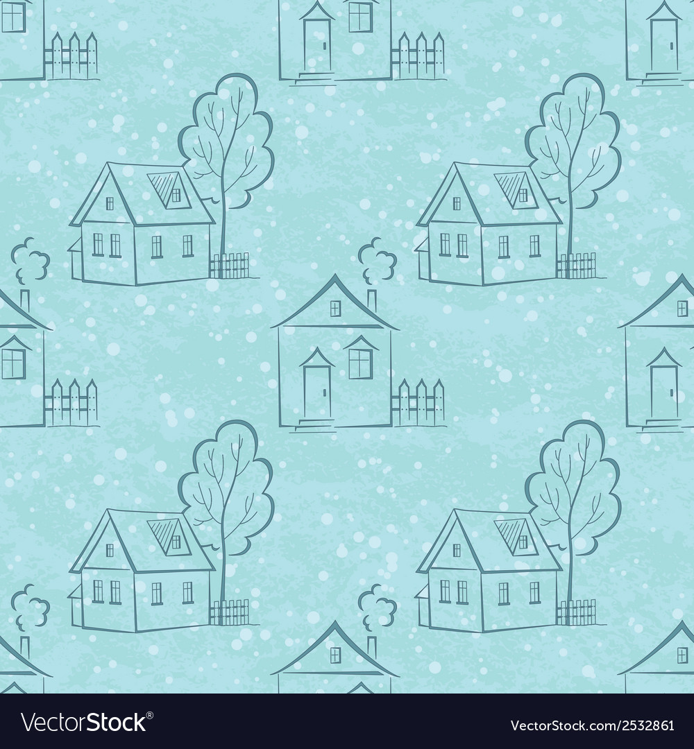 Seamless pattern houses contours and trees vector | Price: 1 Credit (USD $1)
