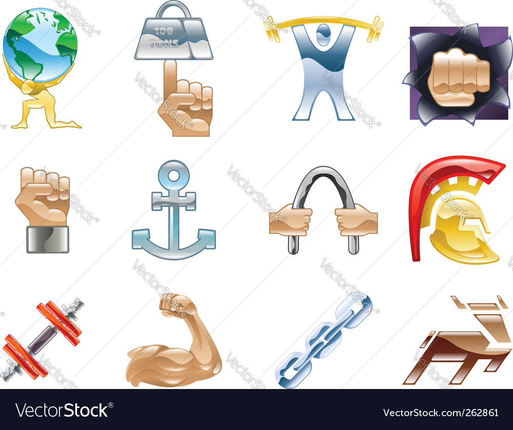 Strength icon set vector | Price: 1 Credit (USD $1)