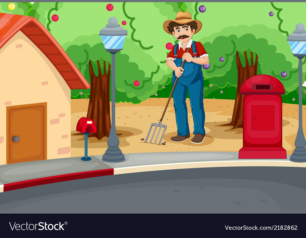 A man raking the soil near the road vector | Price: 1 Credit (USD $1)
