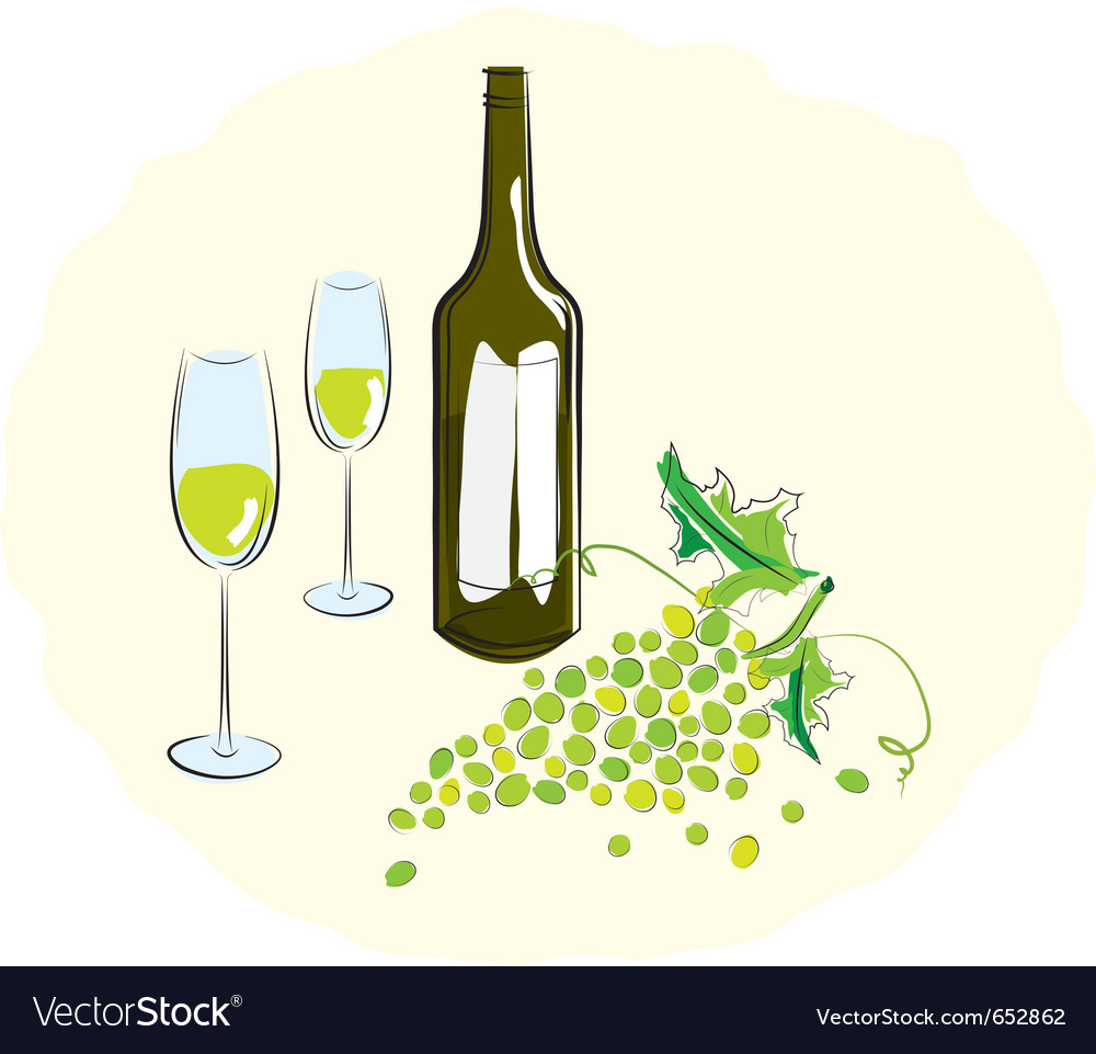 Bottle of white wine with a glass vector | Price: 1 Credit (USD $1)