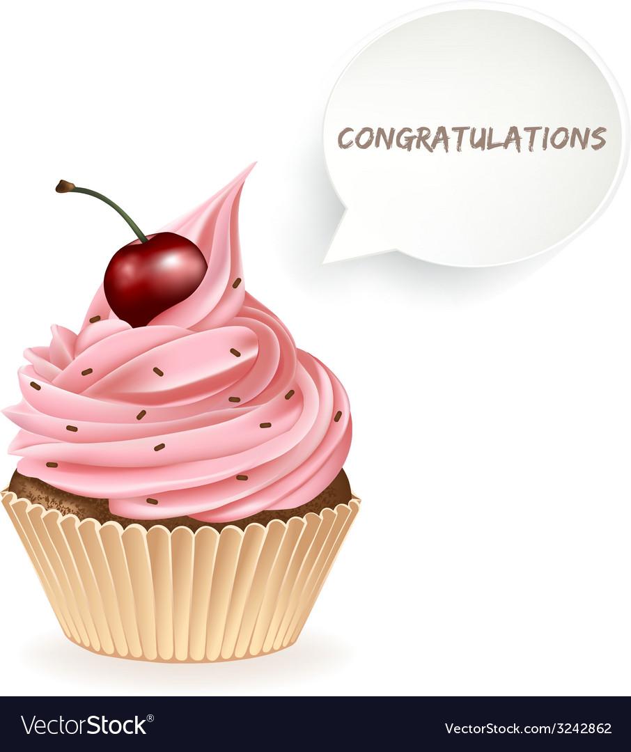 Congratulations cupcake vector | Price: 3 Credit (USD $3)