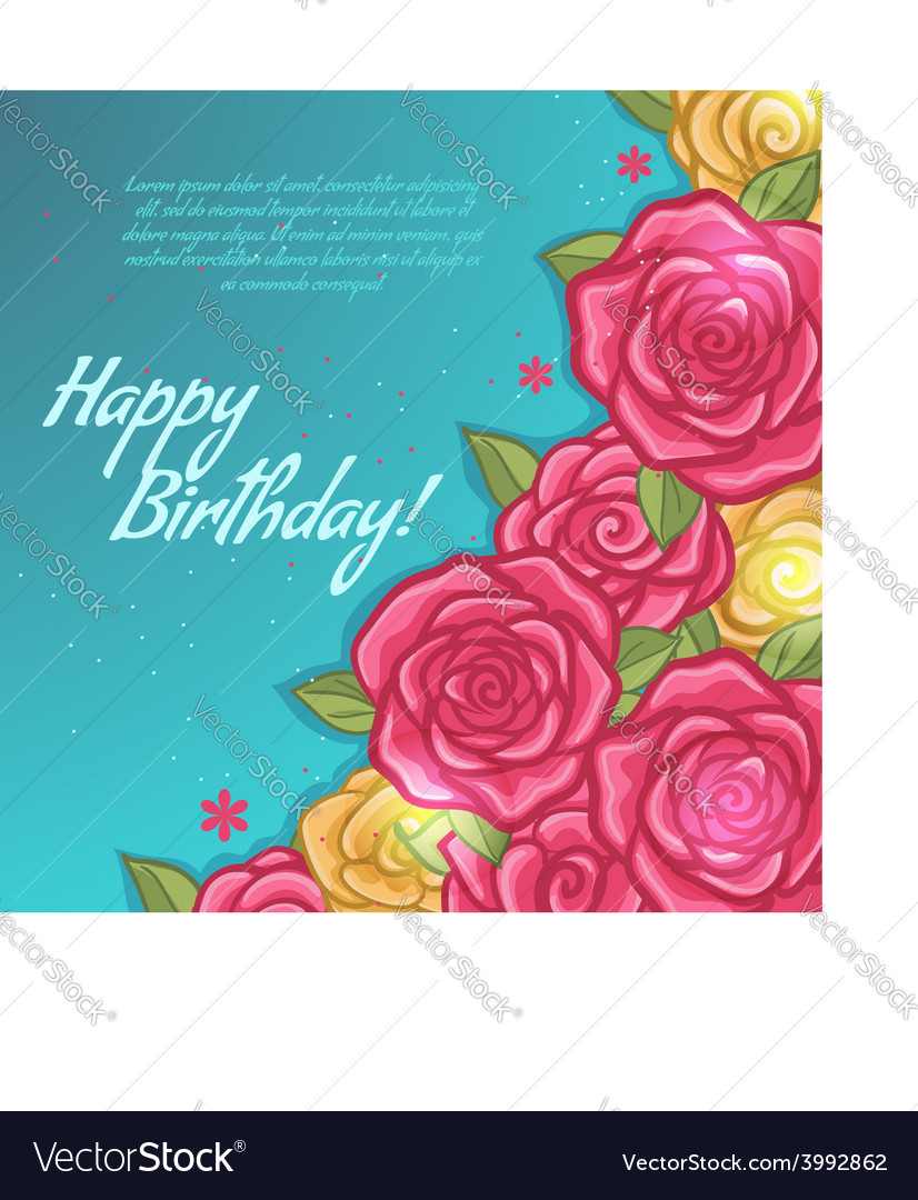 Floral decorative card with rose vector | Price: 1 Credit (USD $1)
