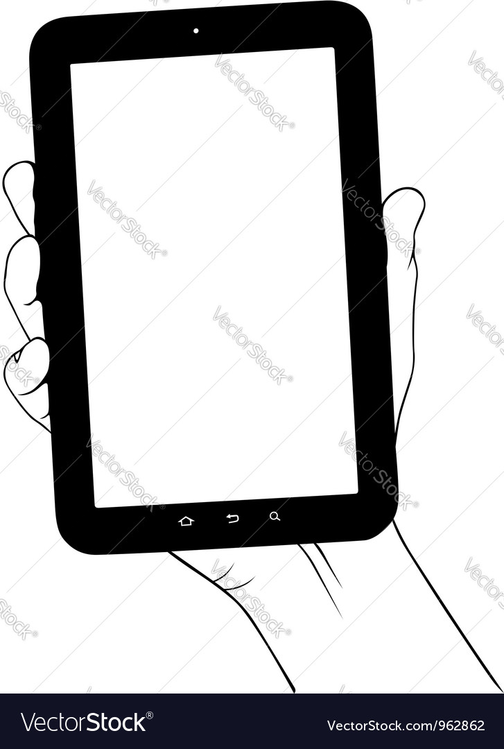 Hand holding digital tablet pc vector | Price: 1 Credit (USD $1)