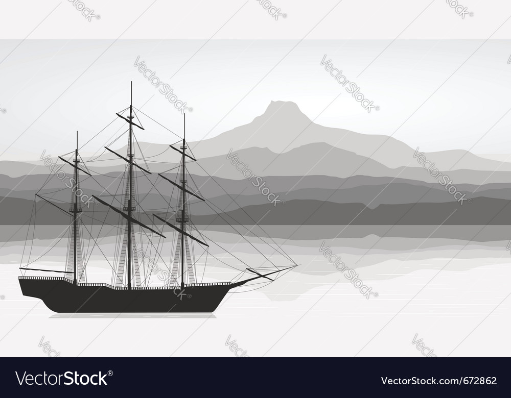 Landscape with detailed old ship and mountains vie vector | Price: 1 Credit (USD $1)