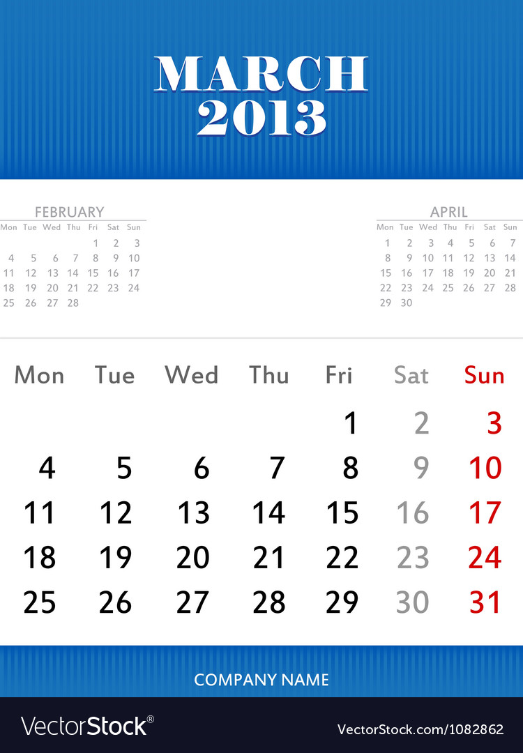Mar 2013 calendar design vector | Price: 1 Credit (USD $1)